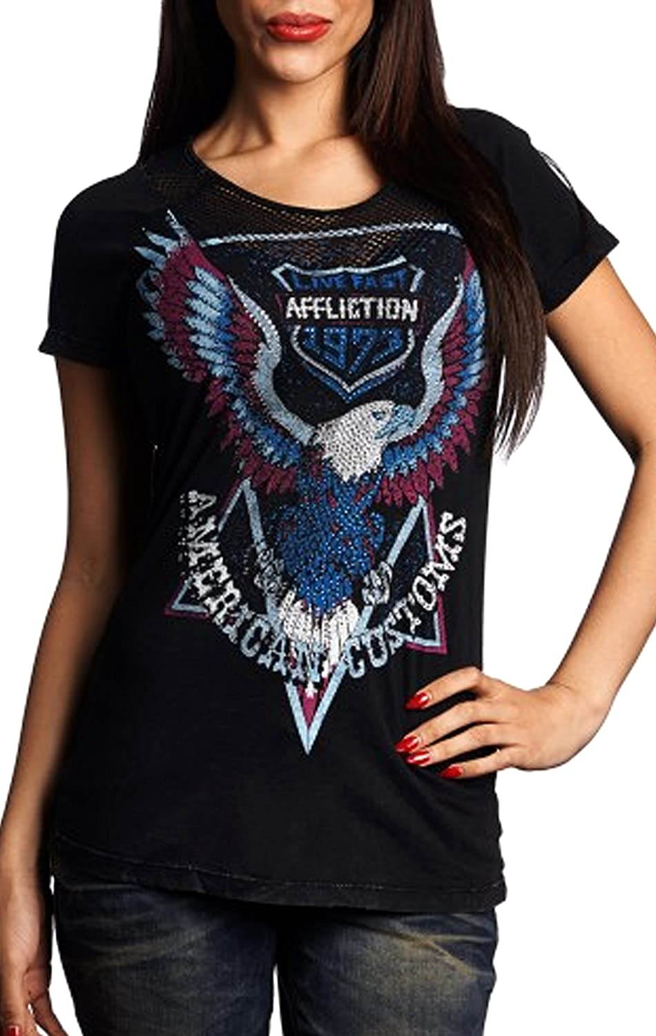 Affliction High Beams Short Sleeve Fashion Graphic Tshirt Top for Women