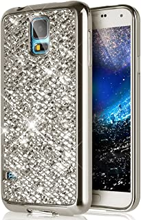 Galaxy S5 Case,[Glitter TPU Case] ikasus Ultra-Slim Scratch-Resistant Shiny Sparkle Bling Glitter Handcraft Electroplated Soft TPU Silicone Rubber Protective Case Cover for Galaxy S5,Silver