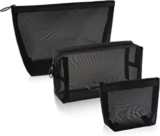 3 Pieces Mesh Cosmetic Bag Mesh Makeup Bags Black Mesh Zipper Pouch for Offices Travel Accessories, 3 Sizes