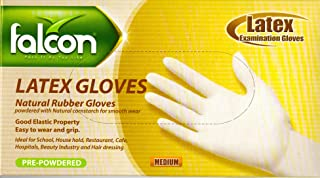 Falcon Latex Examination Gloves - Pre-Powdered, 100/Pack (Medium)