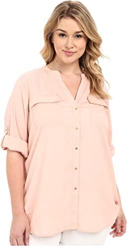 Calvin Klein Plus - Plus Size Crew Neck Roll Sleeve