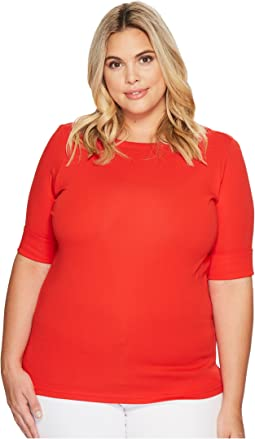 LAUREN Ralph Lauren - Plus Size Cotton Boat Neck T-Shirt