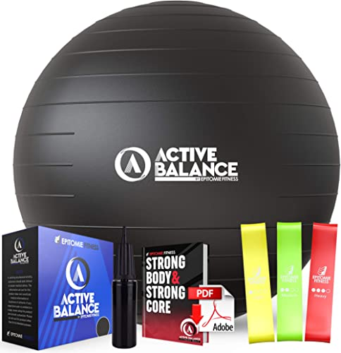 Active Balance Exercise Ball with Resistance Bands & Hand Pump – Premium Balance Ball for Fitness, Health, Relief & M...