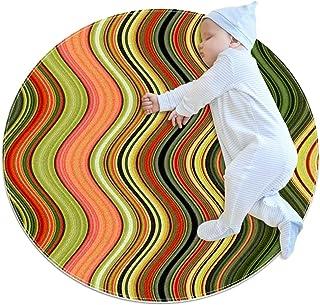 Mystiska vågor, barn rund matta polyester överkast matta mjuk pedagogisk tvättbar matta barnkammare tipi tält lekmatta