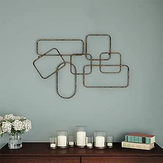 Lavish Home Wall Decor-Metallic Interlocking Squares Geometric Sculpture Modern Hanging Art for Living Room, Bedroom or Kitchen, Gold