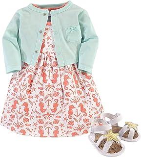 Hudson Baby Girls' 3 Piece Dress, Cardigan, Shoe Set