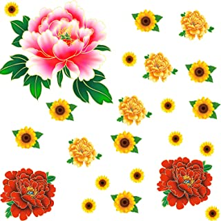 21Pcs DIY Peony Flower & Sunflower Wall Sticker Peel and Stick 3D Green Leaves Flower Wall Art Decor Removable Nursery Floral Stickers for Home Decoration
