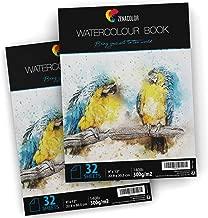 """⭐2 x Bloc de Papier Aquarelle pour Peintures Aquarelles - Format A4 (9"""" x 12"""") - 2 x 32 Feuille Blanche 300g - Lot de 2 Carnet Papier à Dessin et Peinture Aquarelle pour Artistes et Loisir Créatifs"""