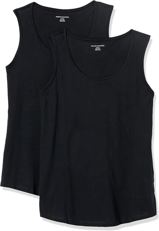 Amazon Essentials Women's 2-Pack Classic-Fit 100% Cotton Sleeveless Tank