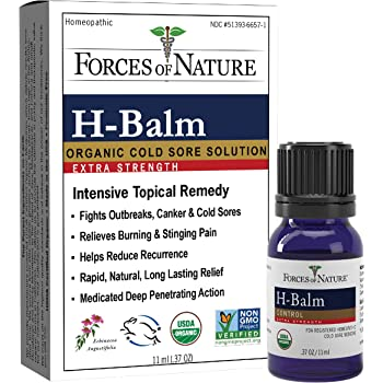 Forces of Nature – Natural, Organic, H-Balm Control Extra Strength Cold Sore, Fever Blister Treatment (11ml) Non GMO, No Harmful Chemicals -Fast Relief for Tingling, Burning and Itching Pain.