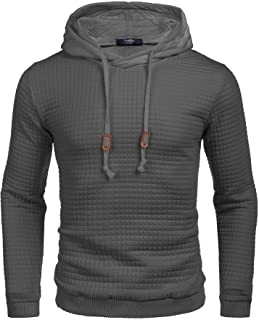 Men's Sweatshirt Hipster Gym Long Sleeve Drawstring Hooded Plaid Jacquard Pullover Hoodies