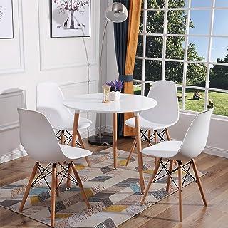 H.J WeDoo Ensemble de Table et 4 chaises pour Salle à Manger, Ronde Table en Bois Diamètre 80 cm, Chaises 53 * 46 * 82 cm,...
