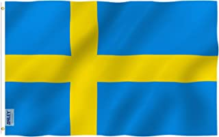 Anley Fly Breeze 3x5 Foot Sweden Flag - Vivid Color and UV Fade Resistant - Canvas Header and Double Stitched - Swedish Banner Flags Polyester with Brass Grommets 3 X 5 Ft