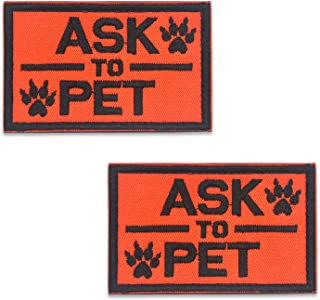 ELUTONG Dog Patches 2 Pack Service Dog Reflective Light in The Dark - Ask to Pet Tags for Hook and Loop Patches Vests and Harnesses for Dogs, Puppy,Pets