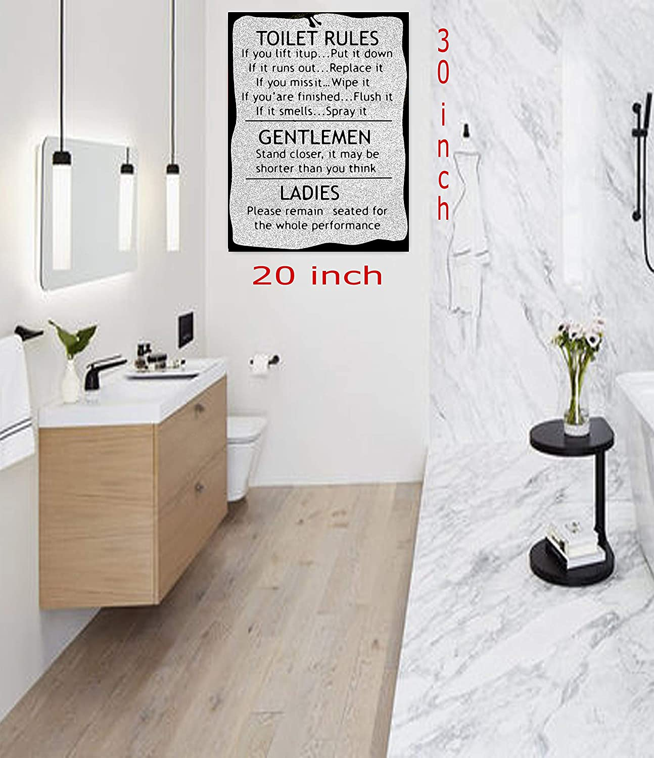 -18mm Depth 30x 20 cm Toilet Rules Picture Photo in Black White Print On Framed Canvas Wall Art Bathroom Decoration 12/'/'x 8/'/'inch