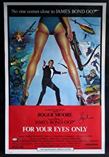 """Roger Moore Signed James Bond """"For Your Eyes Only"""" Movie Poster - PSA/DNA COA"""