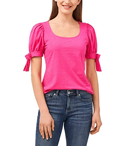 CeCe Puff Sleeve Square Neck Knit Top