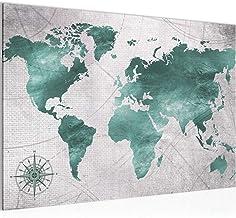 Afbeelding wereldkaart muurschildering 60 x 40 cm vlies - canvas afbeelding XXL formaat wandafbeeldingen woning decoratie ...