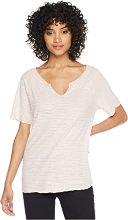 Linen Stripe Short Sleeve Split Neck Tee