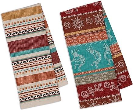 Design Imports Southwest Table Linens,  18-Inch by 28-Inch Dishtowels,  Set of 2,  1 Southwest Stripe Jacquard and 1 Santa Fe Dobby Stripe