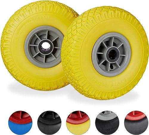 amarillo Set de dos neum/áticos Bond Hardware de 25,4 cm para carros de carga y carretillas