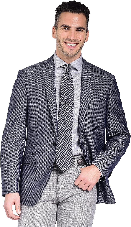 Craft & Soul Men's Slim Fit Stretch Textured Blue Fancy Blazer Jacket Sport Coat