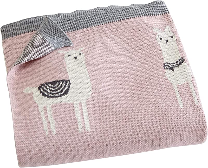 Great Bay Home 100 Natural Cotton Knit Baby Blanket For Girl Or Boy Swaddle Crib Toddler Bed Or Stroller Ultra Soft Warm And Cozy Blanket Andi Mae Llama Print 32 X 40
