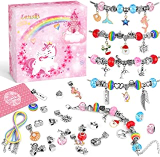 """Lenski Dziewczęce prezenty w wieku 4-11 lat – zestaw bransoletek typu charms, zestaw """"zrób to sam"""", prezenty dla dziewczą..."""