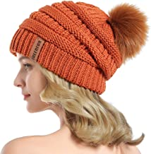 orange and blue bobble hat