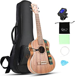 Concert Ukulele 23 inch Hricane Sapele Ukeleles For Beginners Hawaiian Ukele with Ukulele Case and Ukele Strings Set