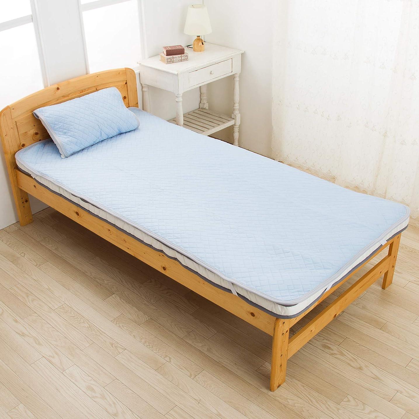 決定否定する約設定東京西川 SEVENDAYS 敷きパッド ブルー シングル 速乾 ダブルメッシュで通気性UP 残暑に PM09001542B