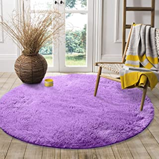LOCHAS Round Area Rugs Super Soft Smooth Rugs Living Room Carpet Bedroom Rug for Children Play Solid Home Decorator Floor Rug and Carpet 4-Feet (Purple)