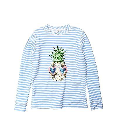 shade critters Rashguard Flip Pineapple Stripe Sequins (Toddler/Little Kids) (Blue) Girl