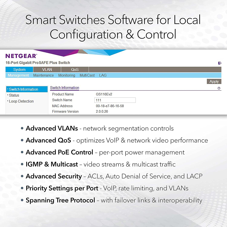 NETGEAR 26-Port PoE Gigabit Ethernet Smart Switch (GS324TP) - Managed, with 24 x PoE+ @ 190W, 2 x 1G SFP, Desktop or Rackmount, S350 series