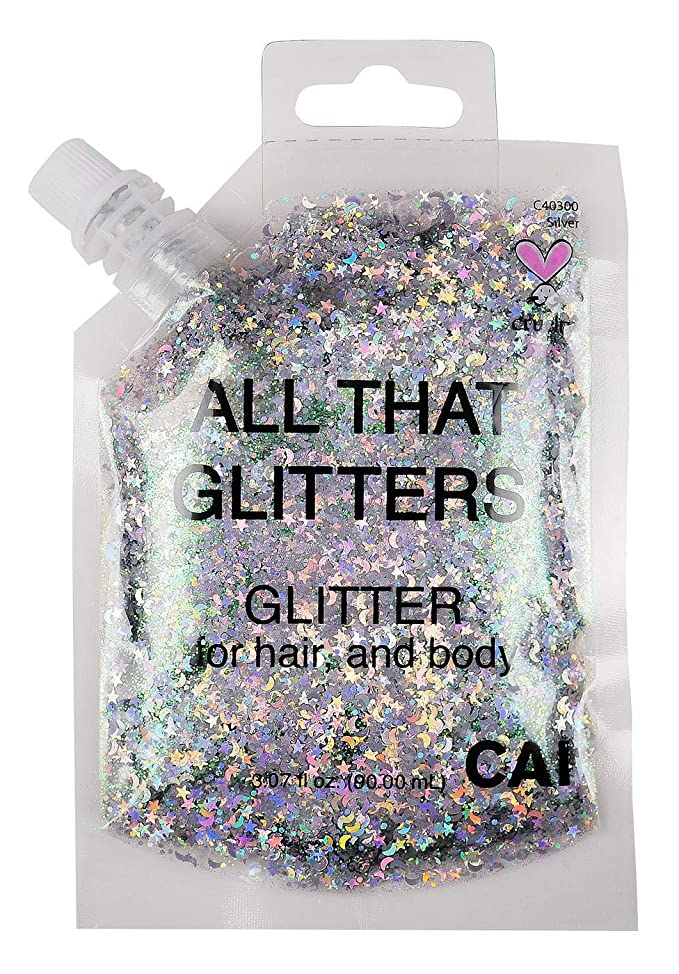 Hair Body Glitter Bag Pouch Holographic Cosmetic Grade Glamour, Silver nfkhitqw087