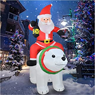 6Ft Christmas Inflatable Santa Claus Rides a Bear with Build in LED Light, Holiday Decorations Blow up Indoor, Outdoor, Ya...