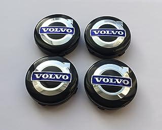 oem vl, Set aus 4 Felgendeckeln, 30666913, 3546923, 8646379, Schwarz / Blau, mit Logo, 64 mm