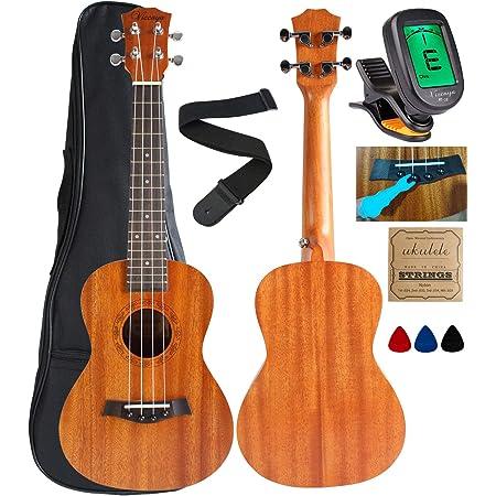 Vizcaya UK23C-MA Concert Ukulele Mahogany 23 inch with Ukulele Accessories,Gig Bag,Strap,Nylon String,Electric Tuner,Picks