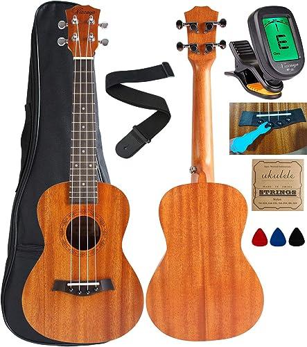 Vizcaya UK23C-MA Concert Ukulele Mahogany 23 inch with Ukulele Accessories,Gig Bag,Strap,Nylon String,Electric Tuner,...