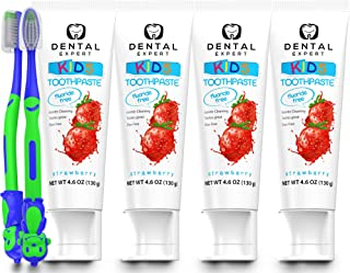 Dental Expert Kids Toothpaste [Fluoride-Free] Strawberry Flavor Natural Toothpastes - Total Oral Care [Free Toothbrush for Children] - 4 Pack