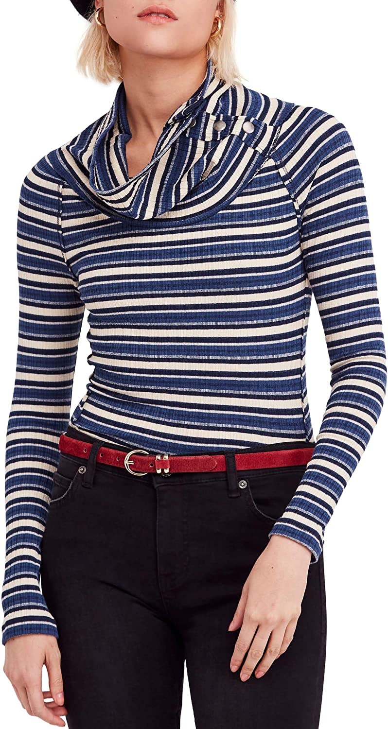 Free People Womens Cape Cod Striped Long Top Outlet ☆ Shipping Sleeve Knit Max 75% OFF