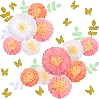 30 Pieces Tissue Paper Flowers with Butterfly Eucalyptus Leaves for Girl Baby Shower Birthday Tea Party,Pink Paper Artific...