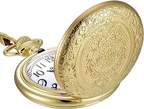 Mudder Vintage Stainless Steel Quartz Pocket Watch Chain