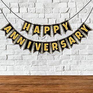 Wobbox Happy Anniversary Bunting Banner, Golden Gliter & Black , Anniversary Party Decoration