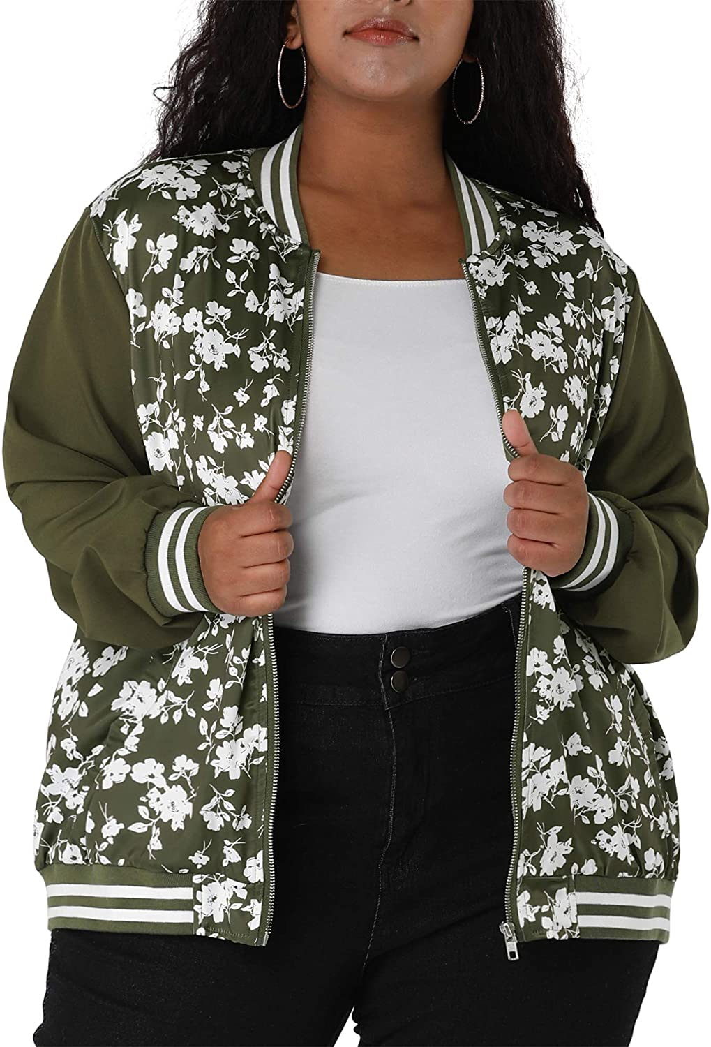 Agnes Orinda Women's Plus Size Save money Color Contrast Lightweigh Cheap mail order shopping Jackets