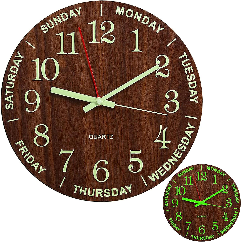 Reloj de pared silencioso con luz nocturna, reloj de pared rústico de 30,5 cm, funciona con pilas, para dormitorio, sala de estar, oficina, cocina, decoración – fácil de leer