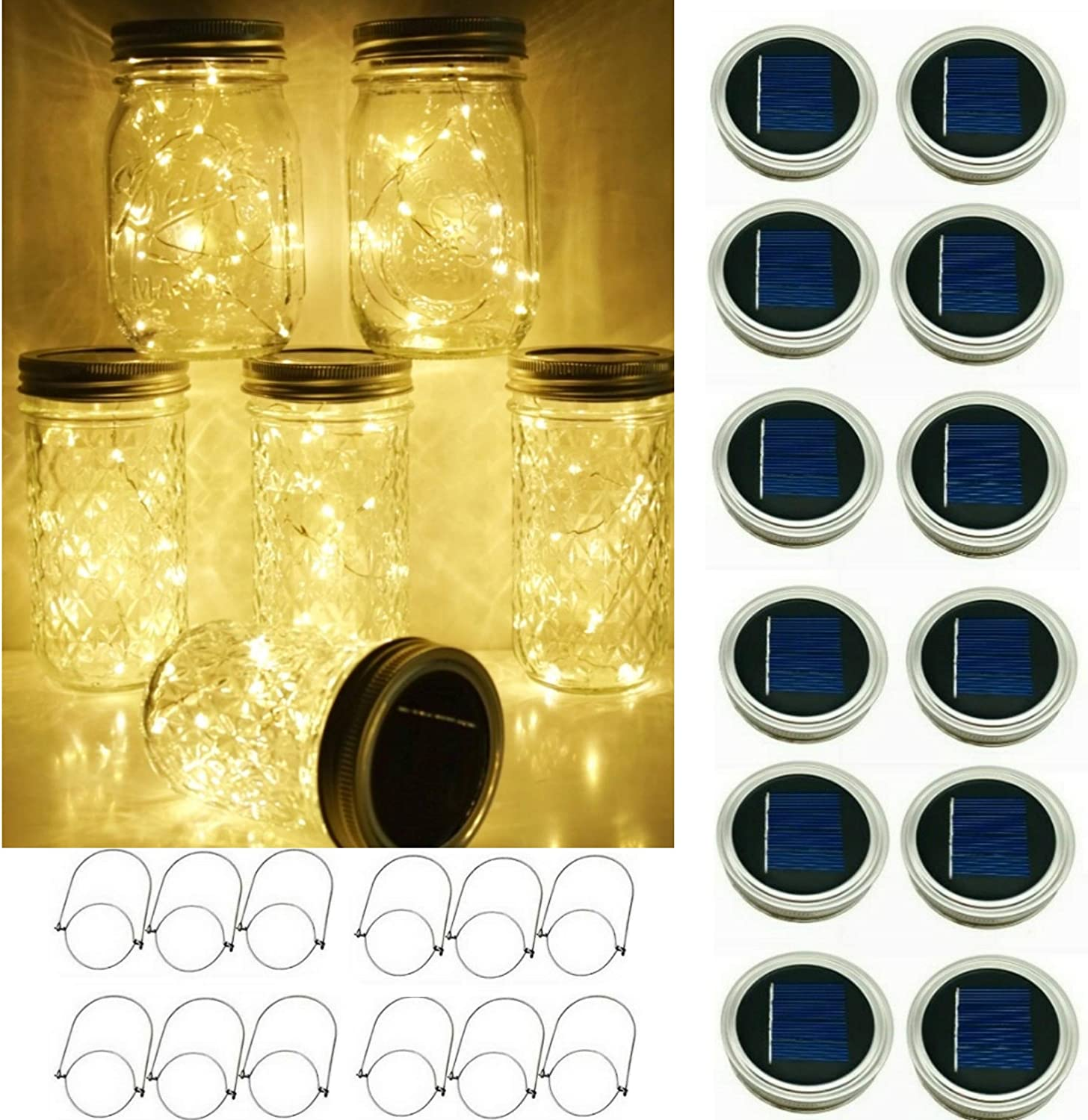 SmilingTown Solar Mason Jar String Light Lids, 12 Pack 30 LED Jar Fairy Firefly Inserts Lighting with 12 Hangers for Outdoor Patio Lawn Garden Decor, No Jars