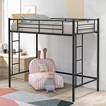 Amazon Com Twin Loft Bed Frame With 2 Ladders High Metal Loft Bed For Kids 220 Lbs Weight Limits Twin Size Black Kitchen Dining
