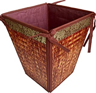 Ing&Ice Shop, New S/L Red Thai Elephant Traditional Multipurpose Basket, Laundry Basket, Waste Baskets Bins, Reed Wicker with Cotton, Bedroom Bathroom Office Desk Accessories, Vintage, Set of 1 (S)