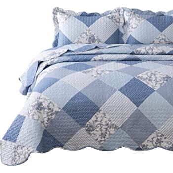 Bedsure 3-Piece Printed Quilt Set King Size (106x96 inches), Blue Floral Patchwork Pattern, Lightweight Bedspread Coverlet Design for All Season, 1 Quilt and 2 Pillow Shams